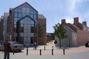 Edgbaston House alongside the new development - a great place for our social enterprise shop