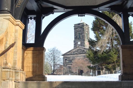View through the war memorial Lytchgate at All Saints Church