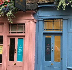 blue pink doors